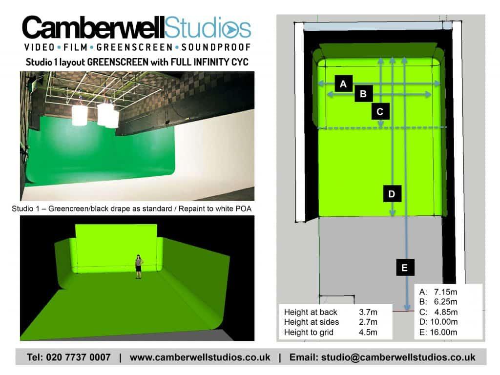 Studio 1 Green Black White Filming Space Camberwell