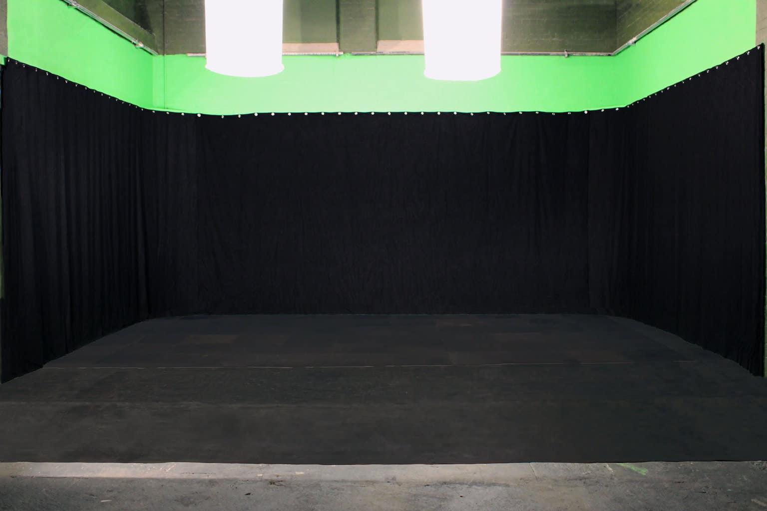 studio space black drapes