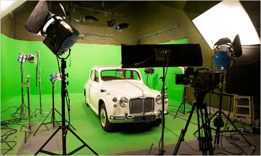car on greenscreen in studio 1