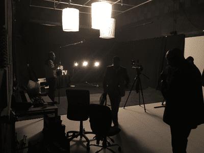 studio 1 set up for jazz club film shoot