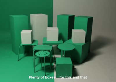green and white boxes